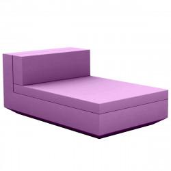 Module central chaise longue canapé Vela, Vondom, 100x160xH72cm violet prune