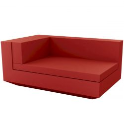 Module gauche chaise longue canapé Vela, Vondom, 100x160xH72cm rouge