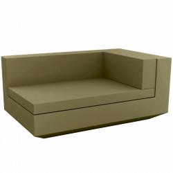 Module droit chaise longue canapé Vela, Vondom, 100x160xH72cm kaki