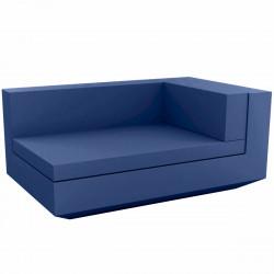 Module droit chaise longue canapé Vela, Vondom, 100x160xH72cm bleu marine