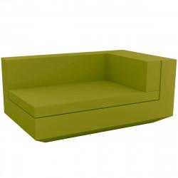 Module droit chaise longue canapé Vela, Vondom, 100x160xH72cm vert pistache