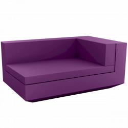 Module droit chaise longue canapé Vela, Vondom, 100x160xH72cm violet prune