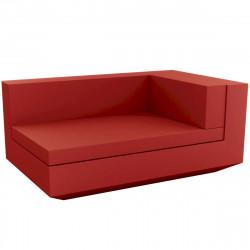 Module droit chaise longue canapé Vela, Vondom, 100x160xH72cm rouge