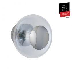 Applique et plafonnier bulle de verre soufflé Horizon Transparent, diamètre 21 cm, Ebb & Flow, centre métal argenté