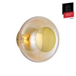 Applique et plafonnier bulle de verre soufflé Horizon Doré fumé, diamètre 21 cm, Ebb & Flow, centre métal doré
