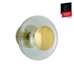 Applique et plafonnier bulle de verre soufflé Horizon Vert forêt, diamètre 21 cm, Ebb & Flow, centre métal doré
