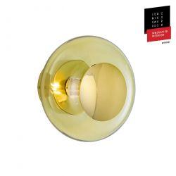 Applique et plafonnier bulle de verre soufflé Horizon Vert olive, diamètre 21 cm, Ebb & Flow, centre métal doré
