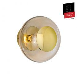 Applique et plafonnier bulle de verre soufflé Horizon Marron glacé, diamètre 21 cm, Ebb & Flow, centre métal doré