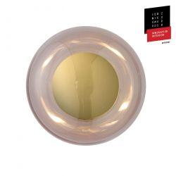 Applique et plafonnier bulle de verre soufflé Horizon Obsidienne, diamètre 21 cm, Ebb & Flow, centre métal doré
