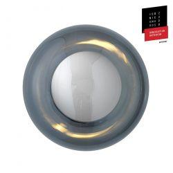 Applique et plafonnier bulle de verre soufflé Horizon Gris fumé, diamètre 21 cm, Ebb & Flow, centre métal argenté