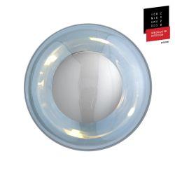 Applique et plafonnier bulle de verre soufflé Horizon Bleu Topaze, diamètre 21 cm, Ebb & Flow, centre métal argenté