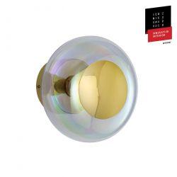 Applique et plafonnier bulle de verre soufflé Horizon Nacré Caméléon, diamètre 21 cm, Ebb & Flow, centre métal doré