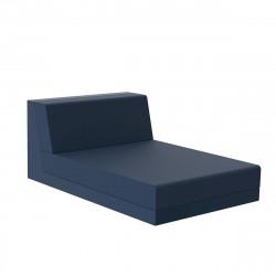 Salon de jardin design Pixel, module chaise longue, Vondom, tissu Silvertex Bleu Marine