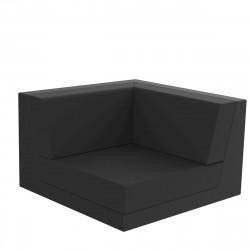 Canapé composable outdoor Pixel, module d'angle, Vondom, tissu Silvertex Noir