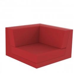 Canapé composable outdoor Pixel, module d'angle, Vondom, tissu Silvertex Rouge