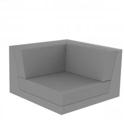 Canapé composable outdoor Pixel, module d'angle, Vondom, tissu Silvertex Gris Argent