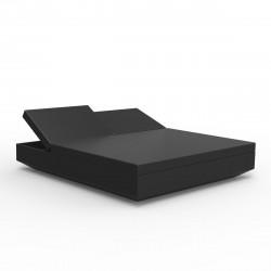 Bain de soleil 2 places design Vela Daybed avec 2 dossiers inclinables, Vondom noir, Silvertex carbon