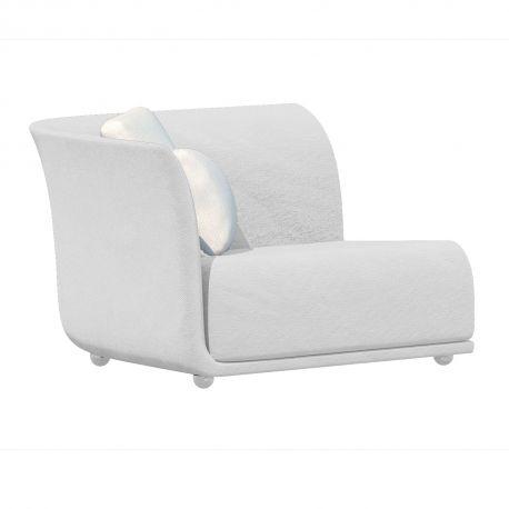 Canapé extérieur design Suave, module droit, Vondom, tissu déperlant blanc Snow 1041
