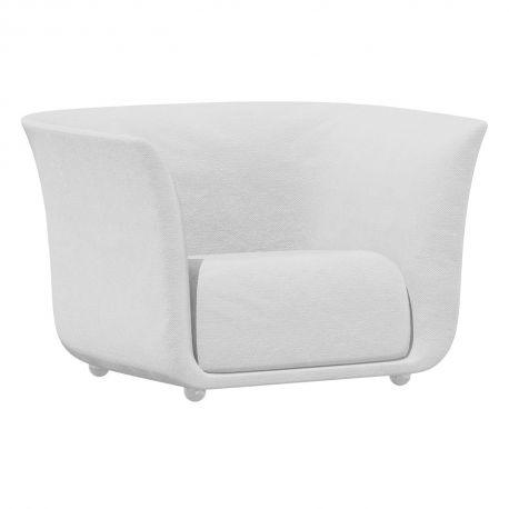 Fauteuil extérieur design Suave, Vondom, tissu déperlant blanc Snow 1041