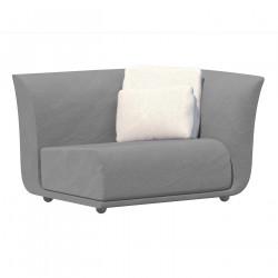 Canapé extérieur design Suave, module gauche, Vondom, tissu déperlant Gris steel 1042