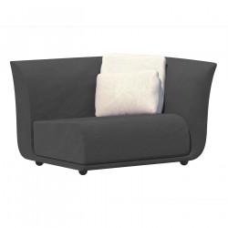 Canapé extérieur design Suave, module gauche, Vondom, tissu déperlant Grey 1043
