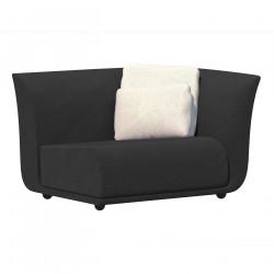 Canapé extérieur design Suave, module gauche, Vondom, tissu déperlant Gris anthracite 1044