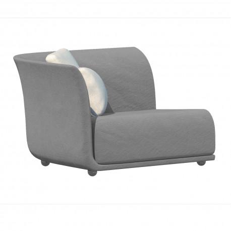Canapé extérieur design Suave, module droit, Vondom, tissu déperlant Gris steel 1042