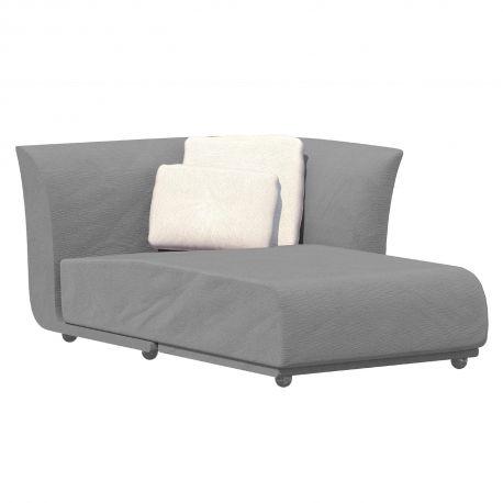 Salon d'été Suave, module chaise longue gauche, Vondom, tissu déperlant Gris steel 1042