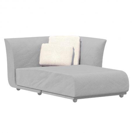 Salon d'été Suave, module chaise longue gauche, Vondom, tissu déperlant blanc Iceberg 1037