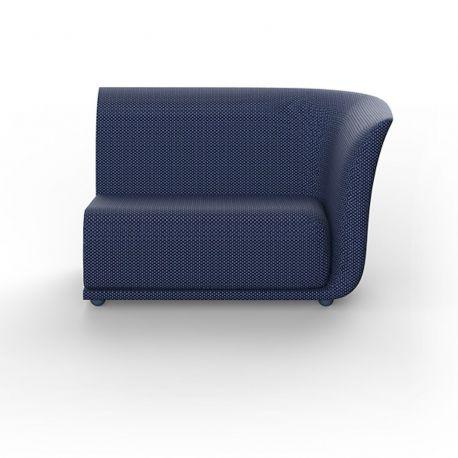 Canapé extérieur design Suave, module gauche, Vondom, tissu déperlant bleu Outre-Mer 1002