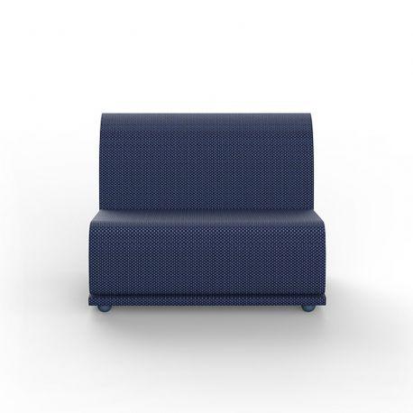 Salon de jardin modulable Suave, module central, Vondom, tissu déperlant bleu Outre-Mer 1002