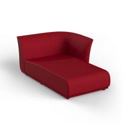 Salon d'été Suave, module chaise longue gauche, Vondom, tissu déperlant rouge Grenade 1046