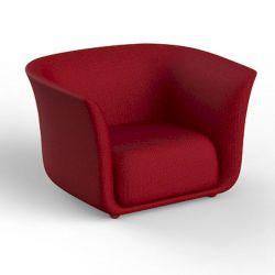 Fauteuil extérieur design Suave, Vondom, tissu déperlant rouge Grenade 1046