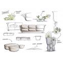 Ensemble canapé outdoor 2 places Suave, Vondom, tissu déperlant gris Anthracite 1044