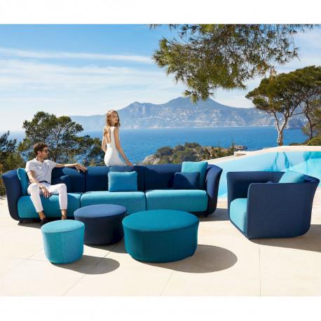 Ensemble salon de jardin Suave, Vondom, tissu déperlant bleu Outre-Mer 1002 et Aquamarina 1003
