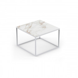 Table basse carrée design Suave 60x60xH40cm, Vondom, Dekton Entzo blanc et pieds blancs