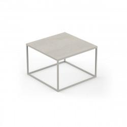 Table basse carrée design Suave 60x60xH40cm, Vondom, Dekton Danae écru et pieds écru
