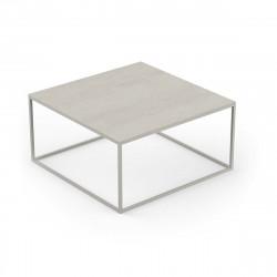 Table basse carrée Suave 80x80xH40cm, Vondom, Dekton Danae écru et pieds écru