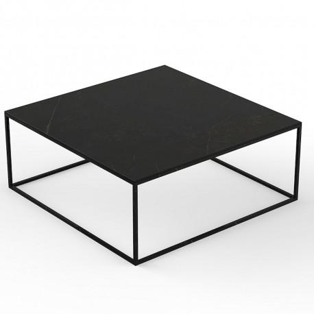Table basse design carrée Suave 100x100xH40cm, Vondom, Dekton Kelya noir et pieds noirs