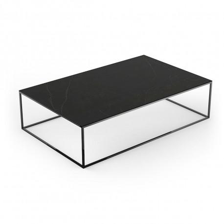 Table basse contemporaine rectangulaire Suave 160x100xH40cm, Vondom, Dekton Kelya noir et pieds noirs