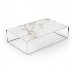 Table basse contemporaine rectangulaire Suave 160x100xH40cm, Vondom, Dekton Entzo blanc et pieds blancs