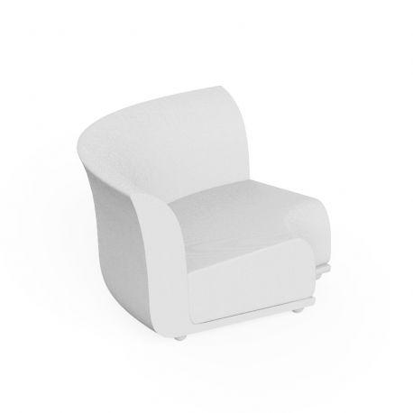 Canapé extérieur design Suave, module d'angle, Vondom, tissu déperlant blanc Snow 1041