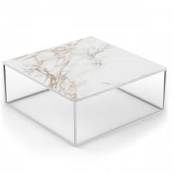 Table basse carrée contemporaine Pixel 100x100xH25cm, Vondom, Dekton Entzo blanc et pieds blancs