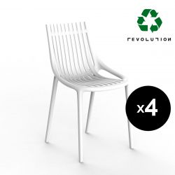 Lot de 4 Chaises Ibiza Revolution® à barreaux en plastique recyclé, Vondom blanc Milos 4023