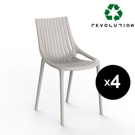 Lot de 4 Chaises Ibiza à barreaux en plastique recyclé, Vondom beige Cala 4021