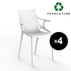 Lot de 4 Chaises Ibiza Revolution®, en plastique recyclé avec accoudoirs, Vondom blanc Milos 4023