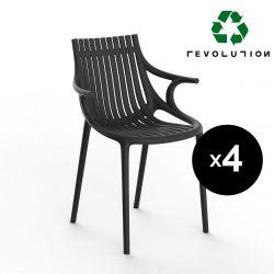 Lot de 4 Chaises Ibiza Revolution® en plastique recyclé avec accoudoirs, Vondom noir Manta 4022