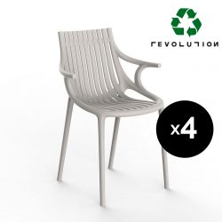 Lot de 4 Chaises Ibiza Revolution® en plastique recyclé avec accoudoirs, Vondom beige Cala 4021