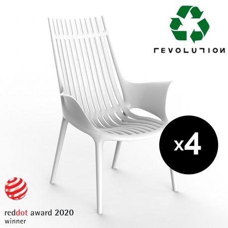 Lot de 4 Fauteuils lounge en plastique recyclé Ibiza, Vondom blanc Milos 4023