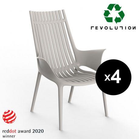 Lot de 4 Fauteuils lounge en plastique recyclé Ibiza, Vondom beige Cala 4021